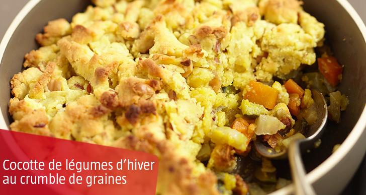 Légumes d'hiver en cocotte au crumble de petites graines